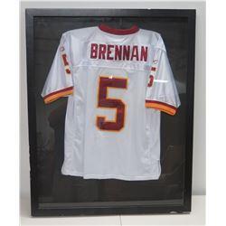 """Framed Signed UH Quarterback Colt Brennan #5 Football Jersey 34"""" x 43"""" (some damage on frame, along"""