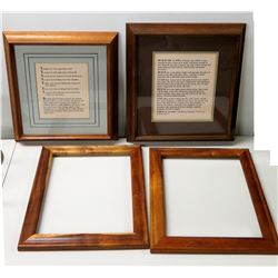 "Qty 4 Wooden Frames - 2 w/ Inspiratinal Messages & 2 Empty, 20"" Diagonal 10""W"