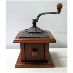 """Vintage Wood & Metal Hand-Crank Coffee Grinder Mill 8"""" Dia"""