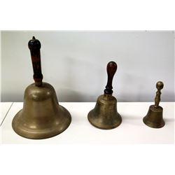 "Qty 3 Vintage Brass Hand Bells, 3"" - 11""H"