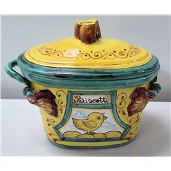"Yellow Italian Soup Tureen (or Biscotti Jar) w/ Bird Motif 10"" x 9"" (1 Handle Broken), Made in Italy"