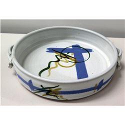 "Ceramic White Blue Oriental Bowl w/ 2 Handles, Signed by Artist 11"" Dia"