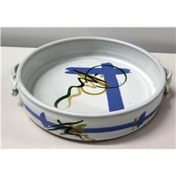 "Ceramic White Blue Oriental Bowl w/ 2 Handles, Signed by Artist 11"" Dia"