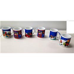 Qty 6 Festive Christmas Holiday Coffee Mugs