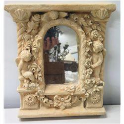 "Intricate Cast Clay/Ceramic Mirror, Cherubs & Flowers Motif, Signed by Artist 12"" x 15"""