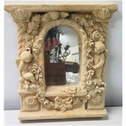 "Intricate Cast Clay/Ceramic Mirror, Cherubs & Flowers Motif, Signed by Artist 12"" x 15"""