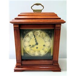 Wood-Encased Emperor Mantel Clock w/ Plaque: 'Handcrafted by William A. Riddle 1992', Includes Windi