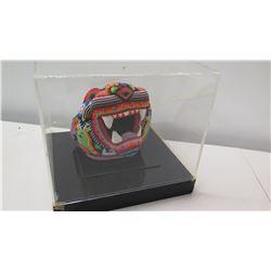 """Multicolored Beadwork Dragon Head in Casing, 9"""" Dia"""