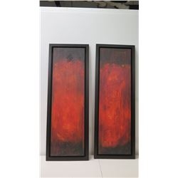 "Pair of Tall Framed Red Abstract Giclee Art on Canvas 19"" x 54"""