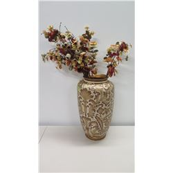 "Tall Ceramic Vase w/ Gold-Tone Swirling Leaf Pattern & Artificial Flowers 10"" Dia x 20""H"