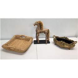 Vintage Wooden Horse w/ Straw Mane, Metal Footed Bowl, Woven Tray