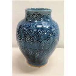 "Blue Glazed Ceramic Vase w/ Raised Floral Design, Artist-Signed 9"" x 12"""