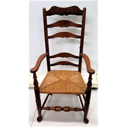 """Antique Carved Wooden Armchair w/ Woven Seat, High Back 24"""" x 47"""" (one slat broken off)"""