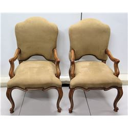"""Qty 2 Kreiss Collection Upholstered Queen Anne Style Chairs w/ Curved Legs 23"""" x 44"""""""