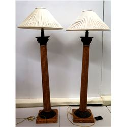 "Pair of Tall Column Floor Lamps and Pleated White Shades 14"" Dia x 68""H"