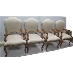 "Qty 4 Kreiss Collection Queen Anne Style Chairs w/ Curved Wood Legs 24"" x 24"" x 43""H"