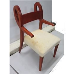 """Contemporary Wooden Chair w/ White Upholstered Seat 20"""" Dia x 36"""""""