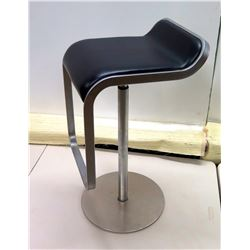 "Black Upholstered Metal Stool on Round Metal Base 14""W x 16""D x 30""H"