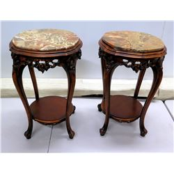 """Pair of Curved Wood Stands w/ Marble Top & Undershelf 14"""" Dia x 26""""H"""