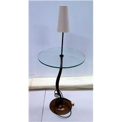 """Clear Glass Table w/ Curved Metal Base & Shaded Lamp 18"""" Dia x 44""""H"""