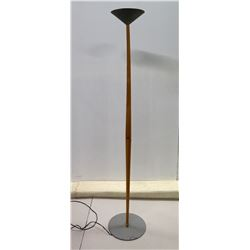 """Wooden Torchiere Floor Lamp w/ Black Shade 13"""" Dia x 68""""H"""