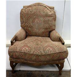"Kreiss Collection Plush Paisley Upholstered Chair w/ Wood Legs 33"" x 35"" x 40""H"