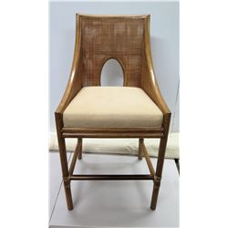 """Contemporary McGuire Woven Chair w/ Cushioned Seat 22"""" x 18"""" x 45""""H"""