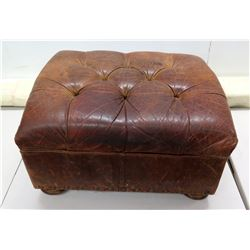 """Tufted Brown Leather Ottoman 26"""" x 22"""" x 15""""H"""