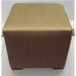 """Woven Rattan Ottoman w/ Upholstered Top 20"""" Dia x 19""""H"""