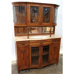 Two-Tier Wooden Hutch Sideboard w/ Glass Display Cabinets, Mirrors & Stone Top