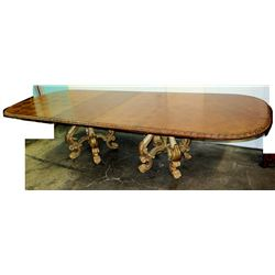 "Wooden Oval Dining Table w/ Ornate Gilt Carved Legs 127"" x 49"" x 42""H"