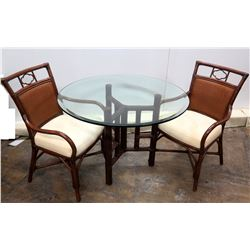 "Round Glass Table (42"" Dia x 30""H) & 2 Matching Chairs w/ Woven Backrest"