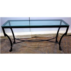 "Black Metal & Glass Entry Table 60"" x 18"" x 31""H"