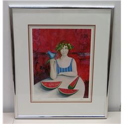 "Framed ""Tamayo's Watermelons"" Art Print, Ltd. Edition 116/350 w/ Artist's Original Signature (Maher)"