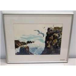 """Framed Watercolor: Oceanscape w/ Seagulls, Signed W. Zimmer 28"""" x 23"""""""