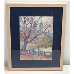 "Framed Watercolor Print: Autumn Park Scene, Signed by Artist 17"" x 22"""