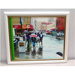 "Framed Original Painting - Colorful Rainy San Francisco Street Scene by Allen Durkee 34"" x 29"""