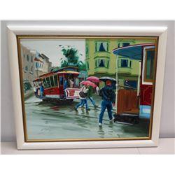 "Framed Painting - Rainy San Francisco Street Scene w/ Trolleys by Allen Durkee 34"" x 29"""