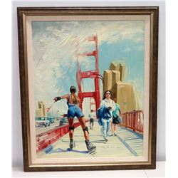 "Framed Original Painting: Rollerblading on Golden Gate Bridge, Signed Allen Durkee 28"" x 35"""