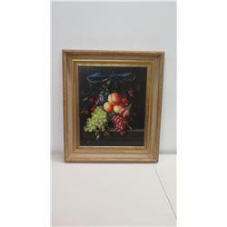 """Framed Original Oil on Canvas: Still Life w/ Fruit & Blue Ribbon, Signed by Artist Stiener 28"""" x 32"""""""