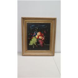 "Framed Original Oil on Canvas: Still Life w/ Fruit & Blue Ribbon, Signed by Artist Stiener 28"" x 32"""