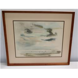 """Framed Abstract Watercolor: Seascape, Signed by Artist 24"""" x 21"""""""