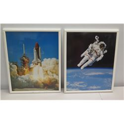 """Qty 2 Framed NASA Photographic Images - Rocket Launch and Astronaut, White Frames 16"""" x 21"""""""