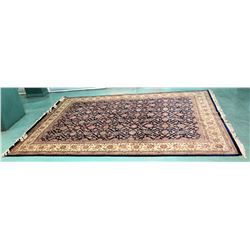 "Large Area Rug w/ Medallion Pattern & Fringe, Black Border 152"" x 108"""
