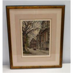 "Framed Art: Street Scene w/ Artist's Original Signature 21"" x 25"""