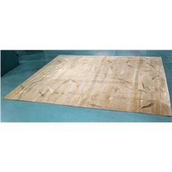 "Woolen Area Rug: Neutral Tones & Green Leaf Design, Knotted, Made in Nepal 180""' x 95"""