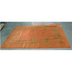 "Dark Orange Area Rug w/ Fern Leaf Motif & Pattern Border 105"" x 72"""