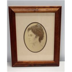 """Framed & Matted Cameo Sketch of Woman 14"""" x 17"""""""