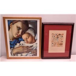 Qty 2 Framed Art - Mother & Child by Lempicka & Abstract Lamps