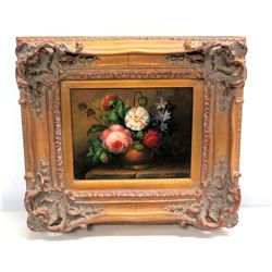 """Still Life Painting with Flower, Signed by Artist, Ornate Gilt Frame 17"""" x 16"""""""